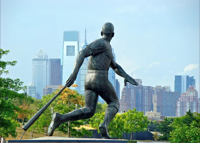 Baseball Statue Citizens Bank Park City View Philadelphia Greeting Card featuring the photograph Batters City View by Alice Gipson