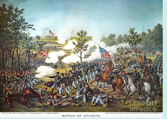 1864 Greeting Card featuring the photograph Battle Of Atlanta, 1864 by Granger