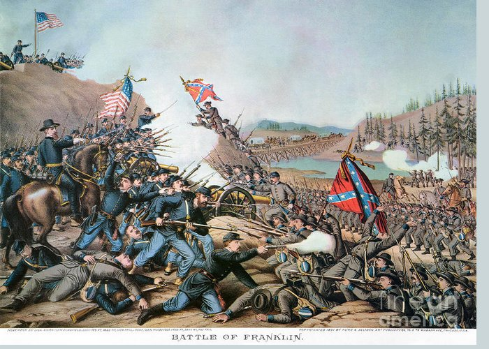 1864 Greeting Card featuring the photograph Battle Of Franklin, 1864 by Granger