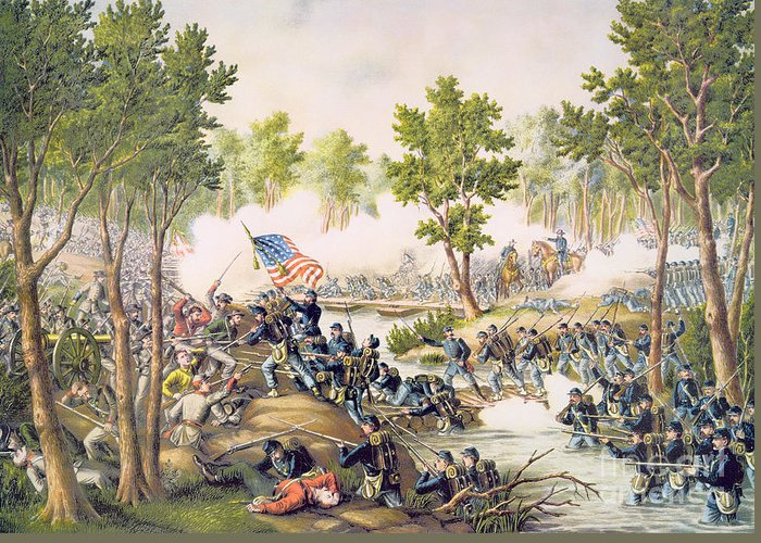 Ni; Spotsylvania; Battle; Battlefield; Union; Army;c Onfederate; U S A; Forces; Combat; Gunfire; Bayonets; Troops; Soldiers Greeting Card featuring the painting Battle Of Spottsylvania May 1864 by American School