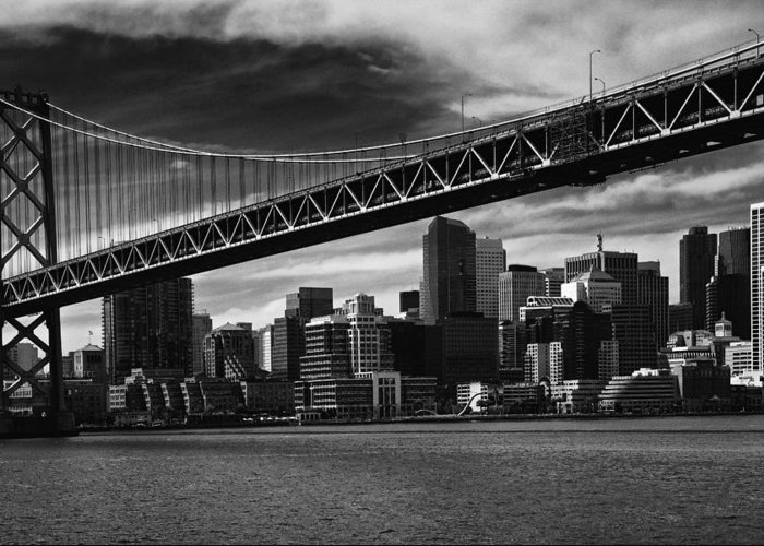 Bay Bridge Greeting Card featuring the photograph Bay Bridge And San Francisco Downtown by Laszlo Rekasi