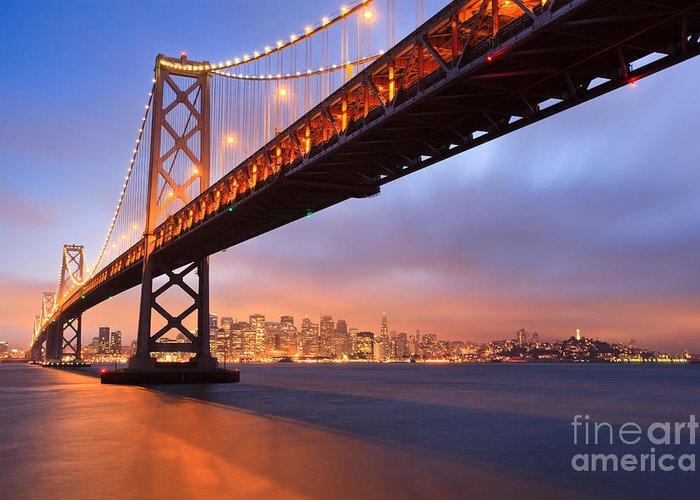 Bay Bridge Greeting Card featuring the photograph Bay Bridge To San Francisco by Sean Duan
