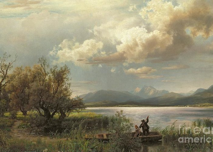 Bayern Landscape Greeting Card featuring the painting Bayern Landscape by Augustus Wilhelm Leu