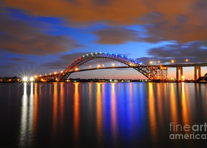 Bayonne Greeting Card featuring the photograph Bayonne Bridge by Paul Ward