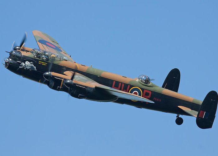 Lancaster Bomber Greeting Card featuring the photograph Bbmf Lancaster Bomber 2 by Ken Brannen