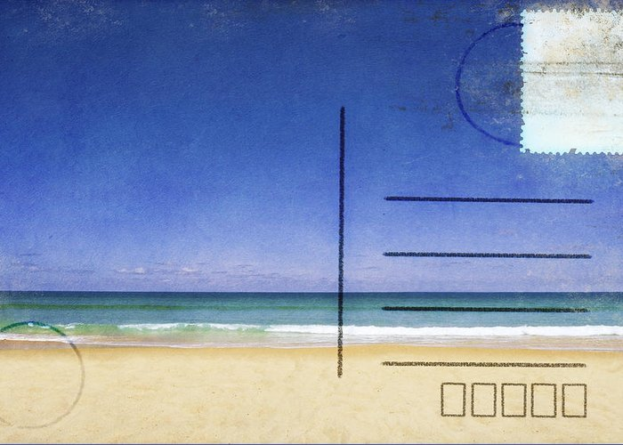 Address Greeting Card featuring the photograph Beach And Blue Sky On Postcard by Setsiri Silapasuwanchai