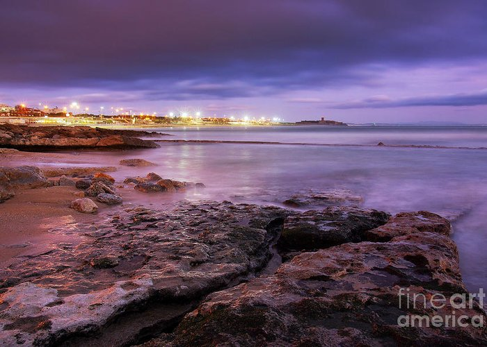 Background Greeting Card featuring the photograph Beach At Dusk by Carlos Caetano