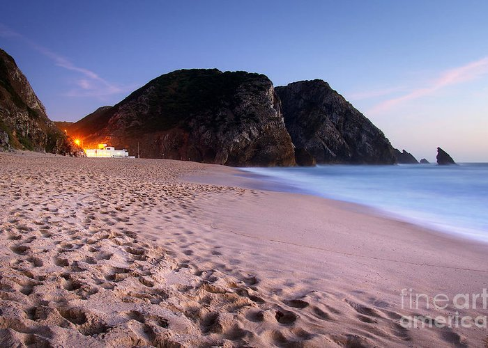 Adraga Greeting Card featuring the photograph Beach At Evening by Carlos Caetano