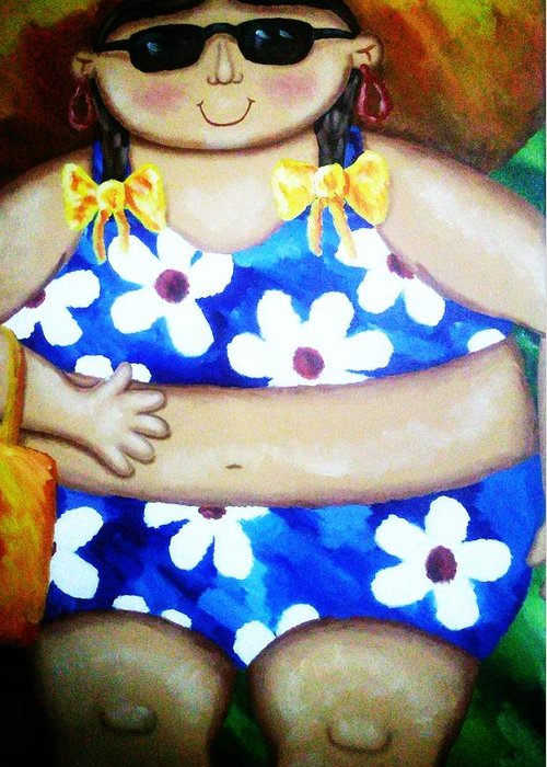 Swim Suit Greeting Card featuring the painting Beach Babe by Unique Consignment