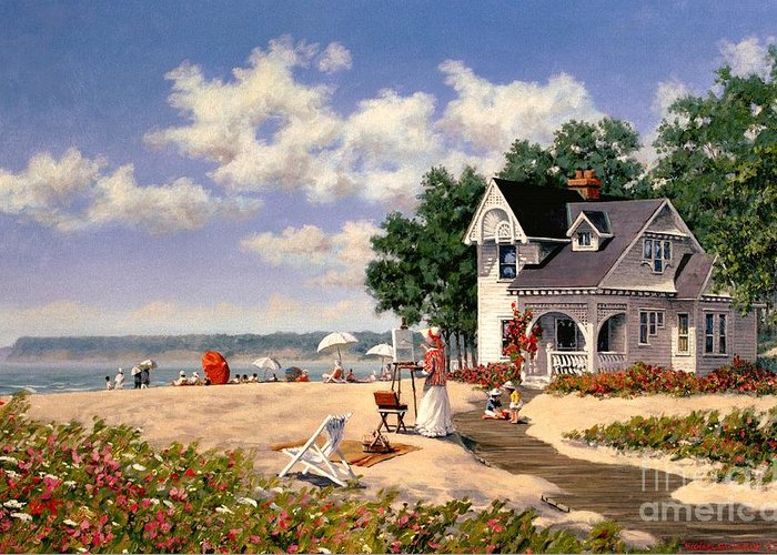 Beach Greeting Card featuring the painting Beach Days by Michael Swanson
