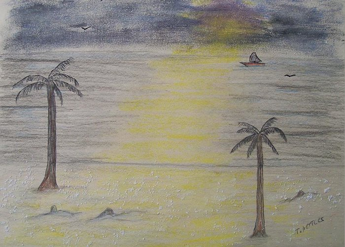 Landscape Greeting Card featuring the painting Beach Front Property by Tom Nettles