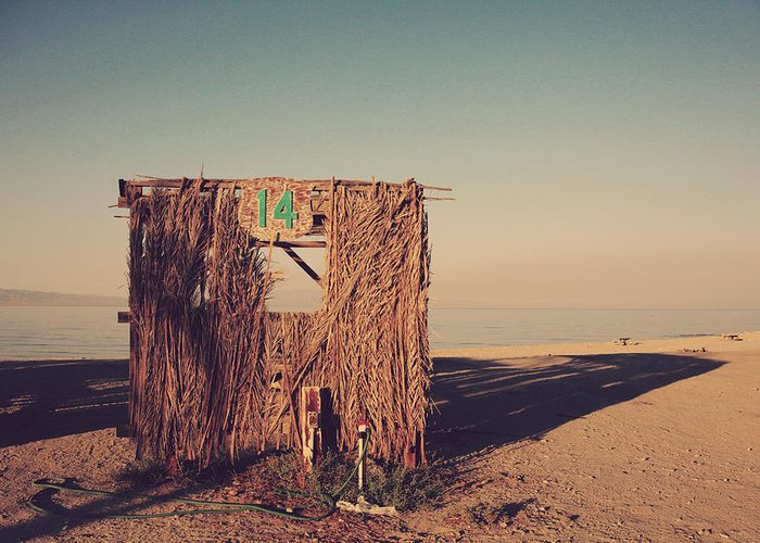 Salton Sea Greeting Card featuring the photograph Beach Hut Number Fourteen by Laurie Search