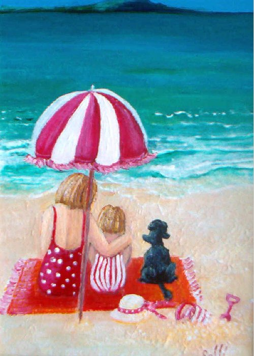 Contemporary. Mother Greeting Card featuring the painting Beach I by Jo Roffe