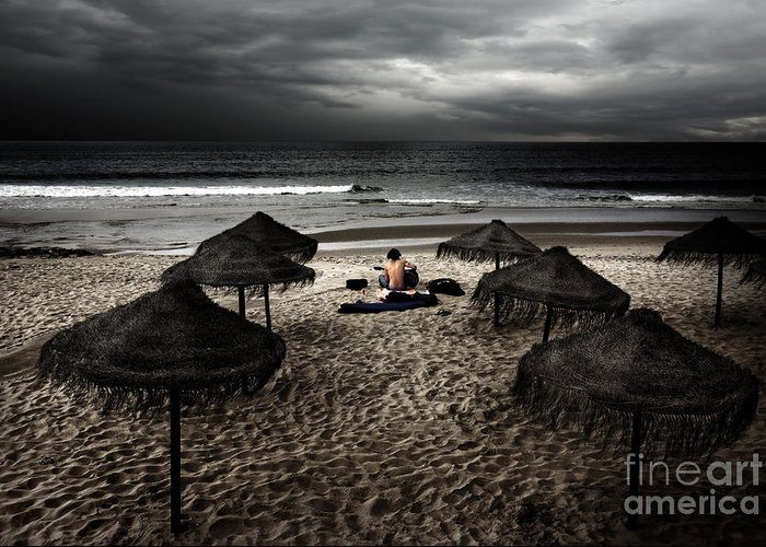 Artist Greeting Card featuring the photograph Beach Minstrel by Carlos Caetano