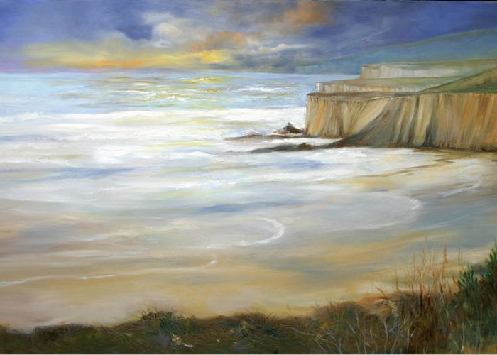 Pacific Ocean Greeting Card featuring the painting Beach On Highway One by Max Mckenzie