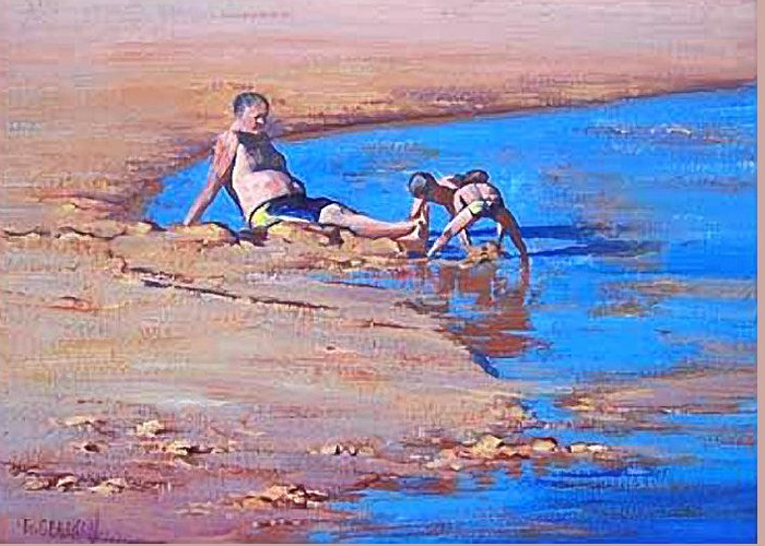 Beach Greeting Card featuring the painting Beach Play by Graham Gercken