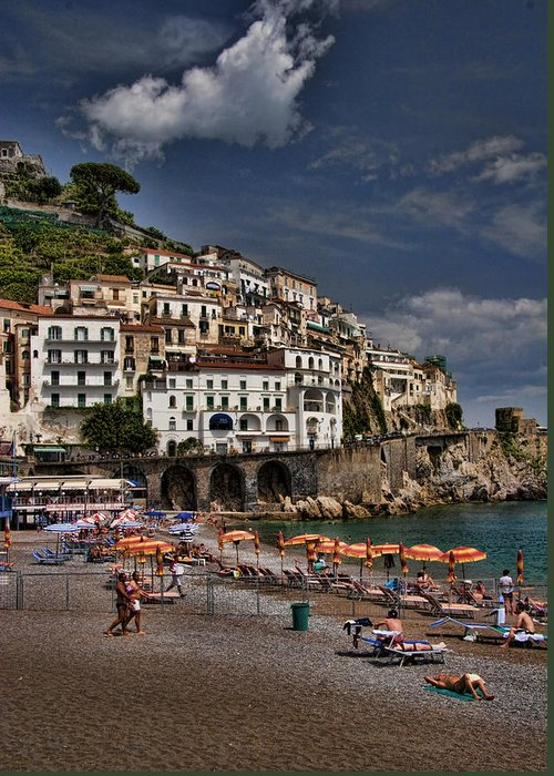 Mediterranean Collection Greeting Card featuring the photograph Beach Scene In Amalfi On The Amalfi Coast In Italy by David Smith