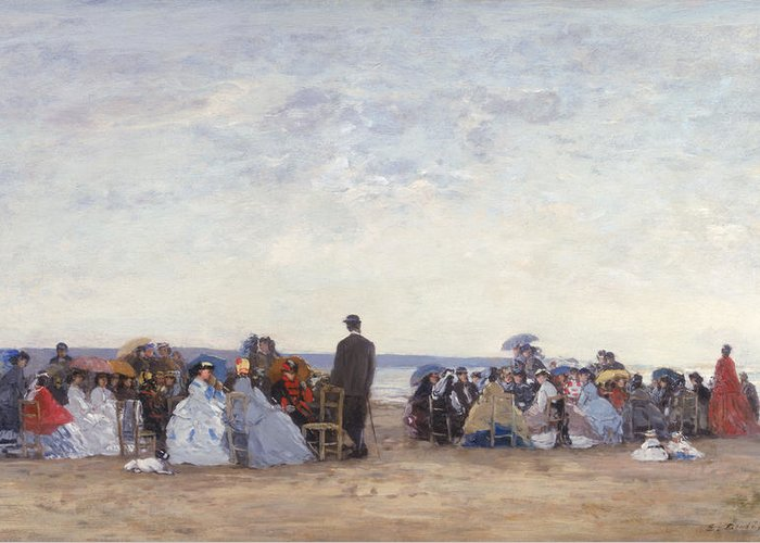 Beach Greeting Card featuring the painting Beach Scene Near Trouville by Eugene Louis Boudin
