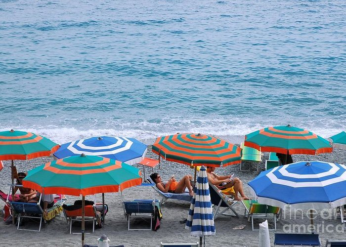 Italy Greeting Card featuring the photograph Beach Umbrellas 2 by Allen Beatty