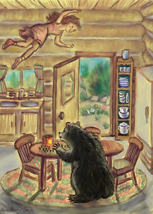 Dream Greeting Card featuring the digital art Bear In The Kitchen - Dream Series 7 by Dawn Senior-Trask