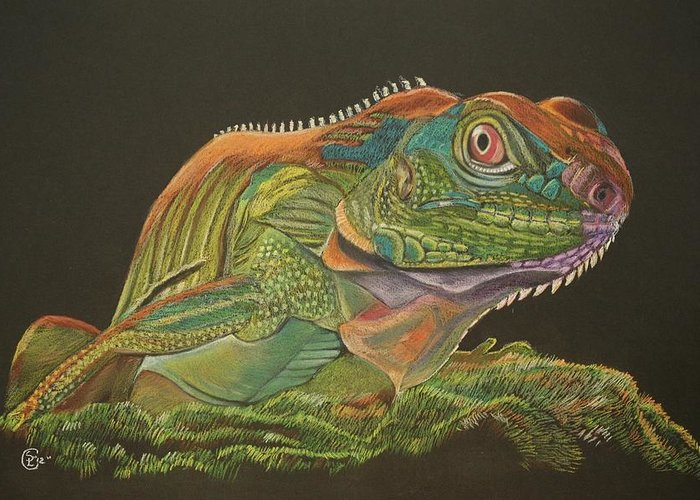 Bearded Dragon Greeting Card featuring the painting Bearded Dragon by Stephanie L Carr