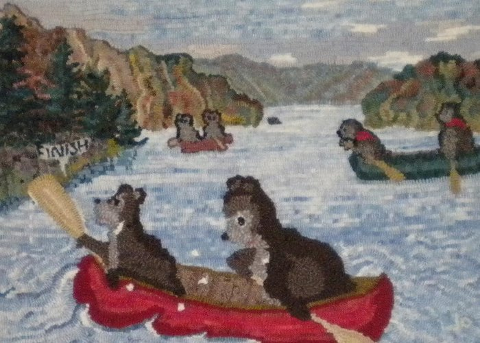 Canoe Greeting Card featuring the painting Bears In Canoes by Brenda Ticehurst