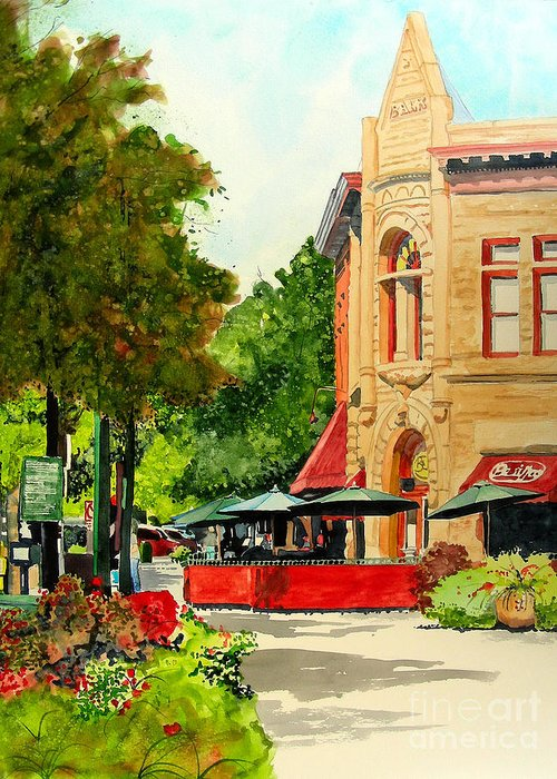 Watercolor Greeting Card featuring the painting Beau Jo's Down Low by Tom Riggs