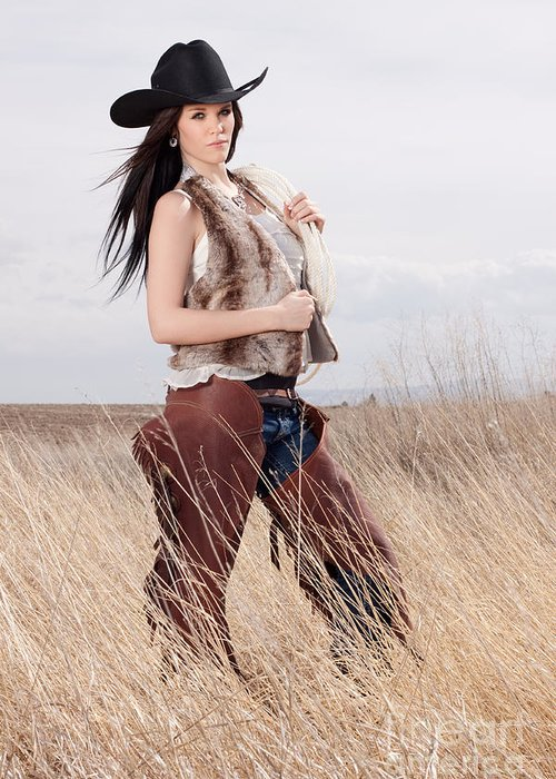 Woman Greeting Card featuring the photograph Beautiful Cowgirl by Cindy Singleton