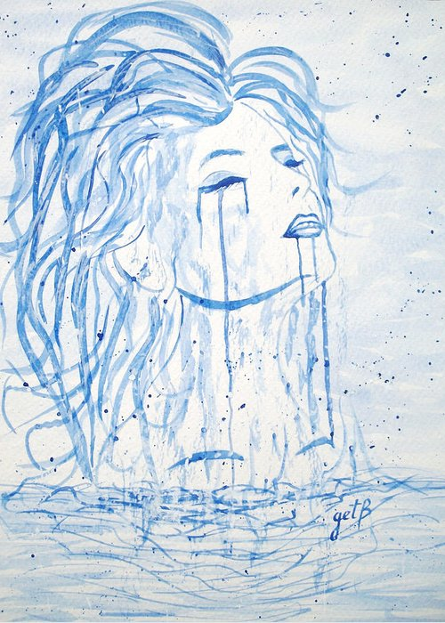 Woman Face Greeting Card featuring the painting Beautiful Sea Woman Watercolor Painting by Georgeta Blanaru