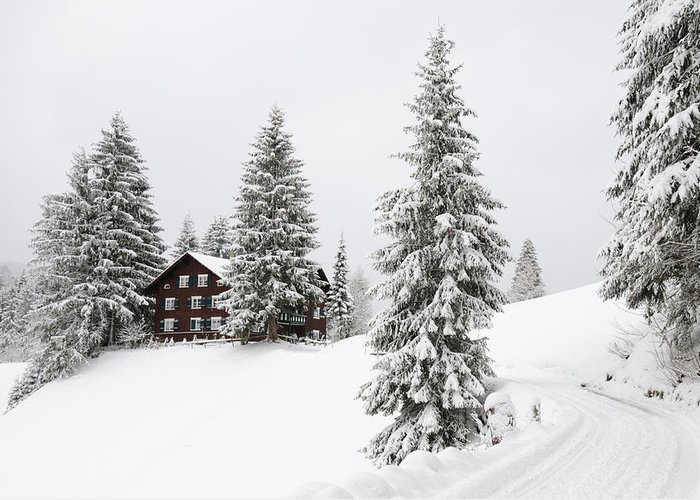 Winter Landscape Greeting Card featuring the photograph Beautiful Winter Landscape With Trees And House by Matthias Hauser