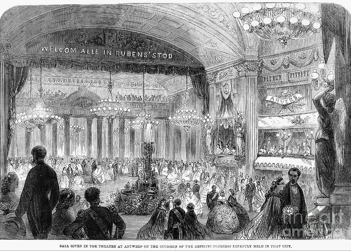 1861 Greeting Card featuring the photograph Beaux Arts Ball, 1861 by Granger