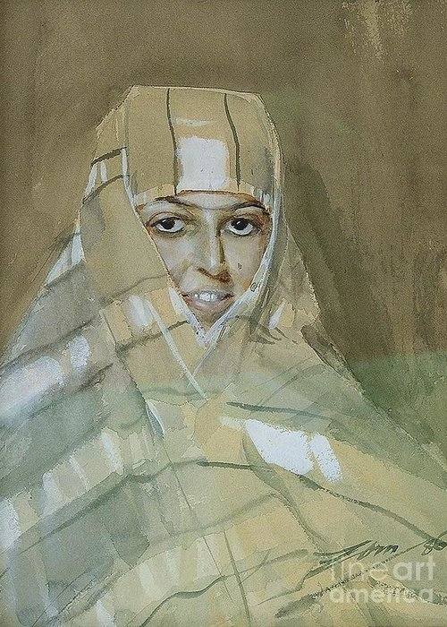 Pd Greeting Card featuring the painting Bedouin Girl by Pg Reproductions