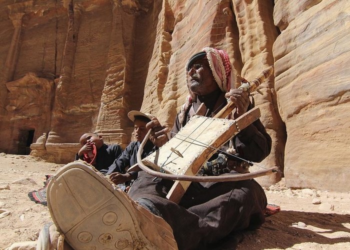 Bedouin Greeting Card featuring the photograph Bedouin Musician by Dave Eitzen