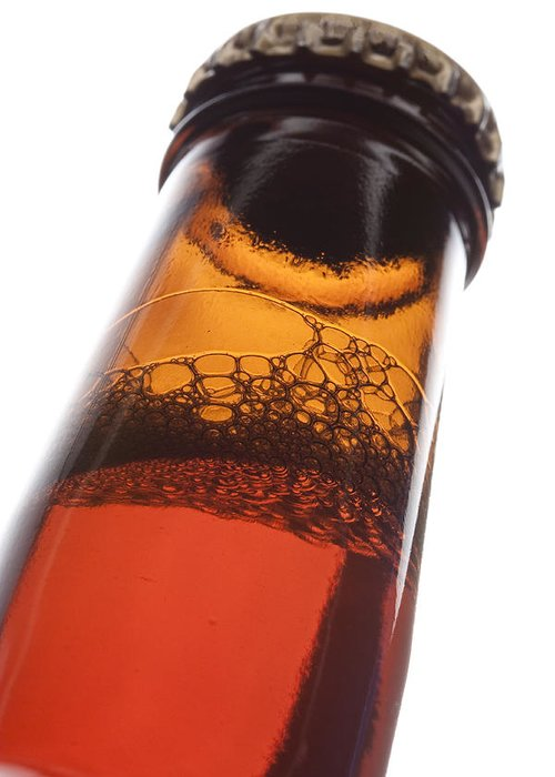 Beverage Greeting Card featuring the photograph Beer Bottle Neck 2 F by John Brueske