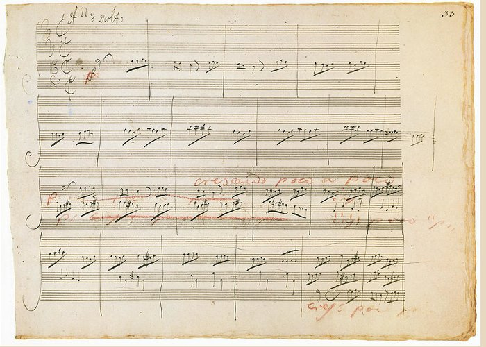 1806 Greeting Card featuring the photograph Beethoven Manuscript, 1806 by Granger