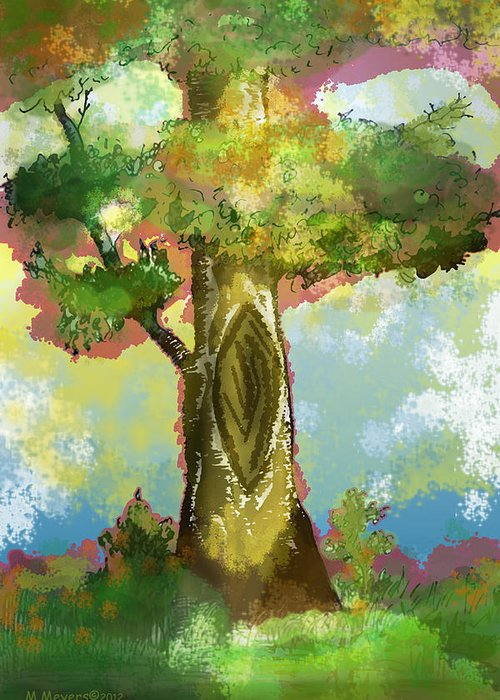 Tree Greeting Card featuring the digital art Before The Fall by Melisa Meyers