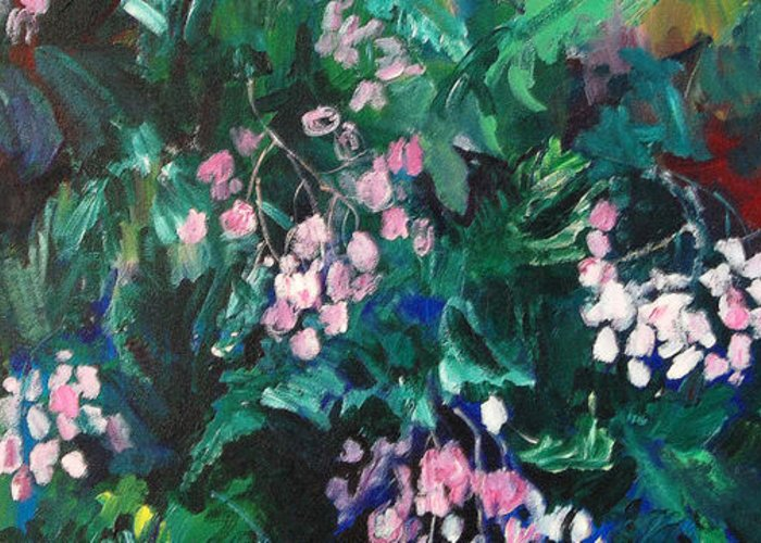 Plein Air Painting Greeting Card featuring the painting Begonias At Longwood by Carol Mangano