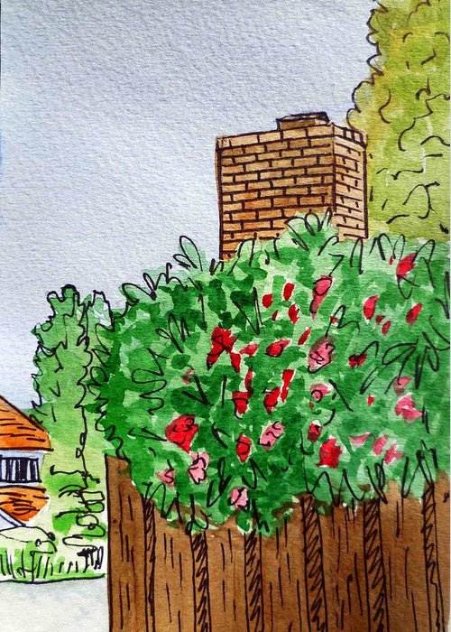 Chimney Greeting Card featuring the painting Behind The Fence Sketchbook Project Down My Street by Irina Sztukowski