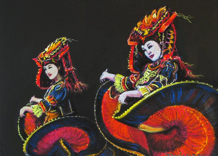 Dancers Greeting Card featuring the painting Bejing Beauties by Tanja Ware