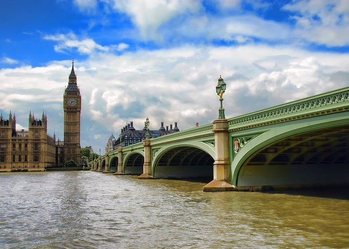 Big Ben Greeting Card featuring the photograph Ben And The Bridge by Donna Lee Blais
