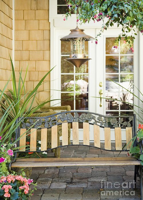 Bench Greeting Card featuring the photograph Bench On Patio by Andersen Ross