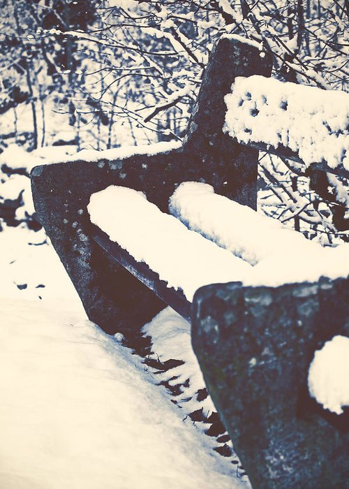 Bench Greeting Card featuring the photograph Bench With Snow by Joana Kruse