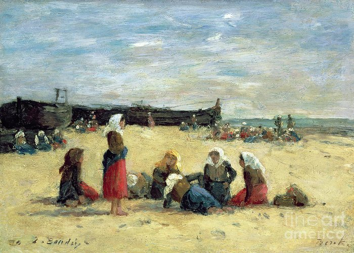 Berck Greeting Card featuring the painting Berck - Fisherwomen On The Beach by Eugene Louis Boudin