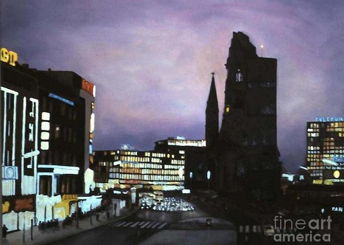 Cityscape Greeting Card featuring the painting Berlin Nocturne by Michael John Cavanagh