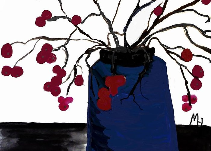 Painting Greeting Card featuring the painting Berry Twigs In A Vase by Marsha Heiken