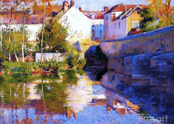 Pd Greeting Card featuring the painting Beside The River - Grez by Pg Reproductions