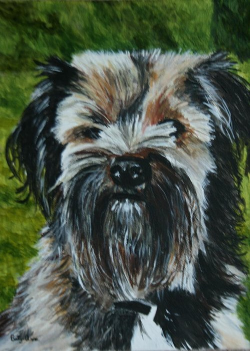 Dog Greeting Card featuring the painting Best Friend by Betty-Anne McDonald