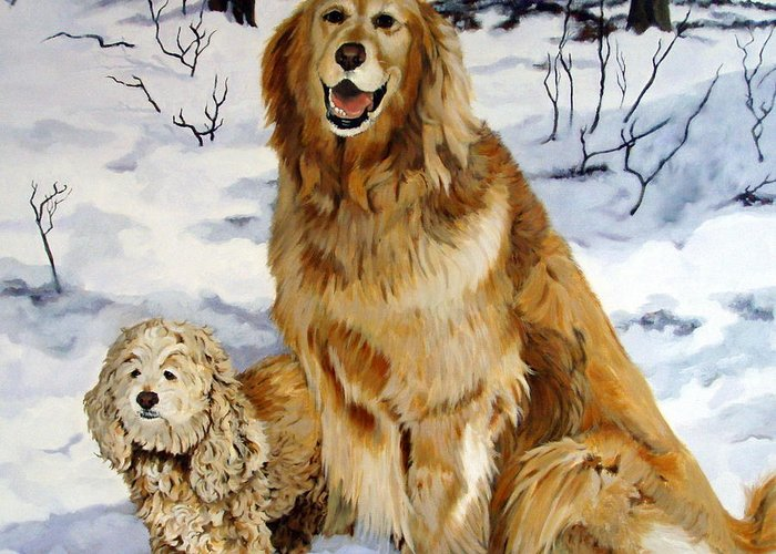 Dog Greeting Card featuring the painting Best Friends by Sandra Chase