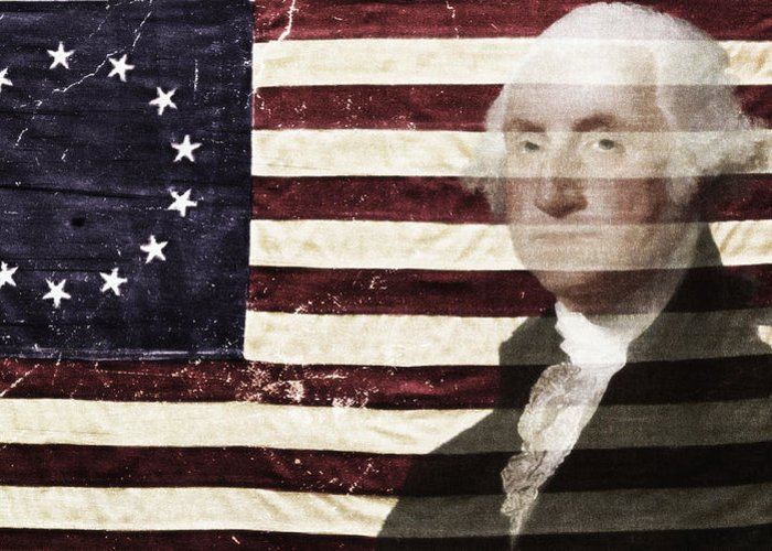 George Washington Greeting Card featuring the photograph Betsey And George Flag by Stephen Walker