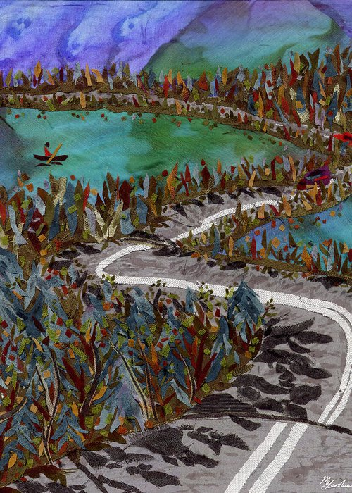 Lake Greeting Card featuring the tapestry - textile Between Lakes by Marina Gershman